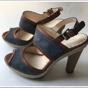COACH Daria Denim Leather Raffia Platform Wedges